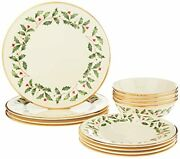 New Lenox Holiday 12-piece Plate And Bowl Set, 14.90 Lb, Red And Green Free Ship