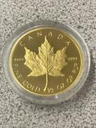 1989 Canada Proof Gold Maple Leaf 1/2 Oz 9999 Fine Coin Mintage 6998