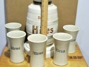 Vintage Soda Fountain Hires Root Beer Barrel Model Syrup Dispenser With 5 Mugs