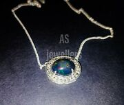 Antique 925 Sterling Silver Genuine Black Opal And Diamond Necklace Birthday Gift