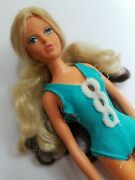 """1975 Tuesday Taylor Ideal Doll Hair Twist And Change 11.5"""" Blue Bathing Suit Used"""