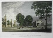 Yale College And State House New Haven Connecticut 1840's Engraved Street Scene