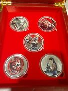 Complete Set Of 5 Anne Stokes 1 Oz Colorized Silver Rounds .999 Fine + Coas