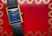 Vintage Tank Ladies Manual Wind Blue Laquer Dial W/ Box And Papers Watch
