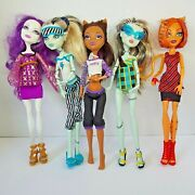 Monster High Doll Lot Of 5- Frankie Clawdeen Toralei Spectra - Good Condition