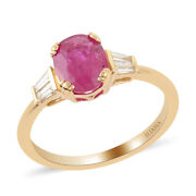 Iliana 18k Yellow Gold Aaa Ruby White Real Diamond Solitaire Ring Gift Ct 1.7