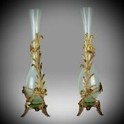 Pair Of Early 20th Century Opaline Glass Vases With Gilt Mounts - Circa 1905