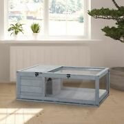 Wooden Reptile Cage With 3 Windows Slide-out Tray For Turtles, Lizards, Snakes