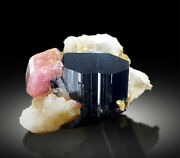 Pink Apatite Crystals With Tantalite Schorl And Albite Mineral Specimen - 114g