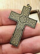 Antique Victorian Iron Cross And Gold Inlay Damascene Decoration Rare Collectible