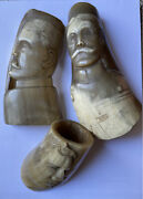 Antique Wwi Carved Horn Head Military Soldiers Officers German Folk Trench Art