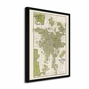 1909 Map Of Los Angeles California - Framed Vintage Los Angeles Wall Art Poster