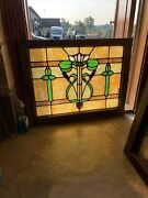 Sg3754 Antique Cat Tail And Lily Pad Stained Glass Window 26.5 X 34.5