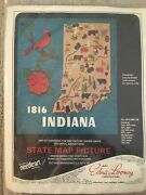 Edna Looney State Map Felt Embroidery Kit Indiana Unopened