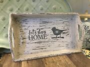 Upcycled Farmhouse Tray Jami Ray Vintage White Salt Washed French Country Bird