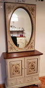 Ethan Allen Heirloom Maple Hand Decorated Entry/hall Console And Mirror