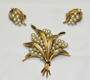 Trifari Crown Signed 3 Pc Brooch And Earrings Jewelry Set 1225