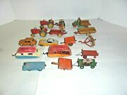 Lot Of Dinky Diecast Toys Farm Tractors And Farm Implements Campers And More