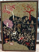 Exceptional Vintage 1950's Medieval Style Crewel Embroidery 36 X 24