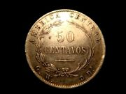Costa Rica. 50 Centavos 1885 G W. Very Nice For This Type. Free U.s. Shipping.