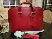 Classic Ladies Tony Perotti Briefcase, Laptop Bag. Red Leather. Gently Used.