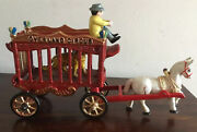 Fantastic Vintage Cast Iron Overland Circus Wagon With Driver, Horse And Tiger