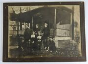 1910s Roseville Young Men Sitting In Front Of Boarding House Photograph Porch