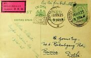 India 1925 Calcutta-delhi Havelock Square Due Card By Anglo India Air Survey Dh5