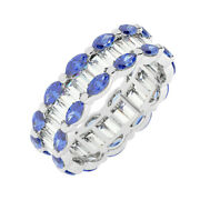 3.50ct Channel Set Baguette And Marquise Blue Sapphire Eternity Ring In 18k Wg
