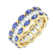 3.50ct Channel Set Baguette And Marquise Blue Sapphire Eternity Ring In 18k Yg