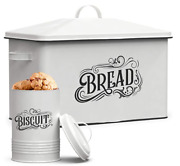 Farmhouse Bread Box Storage Container Xl Size With Matching Tin In White Metal