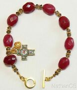 Faceted Genuine Ruby Smoky Quartz Micromosaic And Vermeil Anglican Rosary Bracelet
