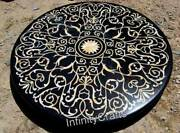 48 Inches Marble Office Meeting Table Mosaic Art Dining Table Top For Home Decor