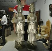 Old Chinese Silver Gilt Han Dynasty Maidservant Maid Palace Girl Statue Pair