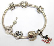 Pandora Key And Hearts Charms Sterling Silver Bracelet 6 Charms
