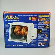 Ronco Showtime Model 4000 White Rotisserie And Bbq Oven With Accessories New Open