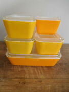 5 Vintage Pyrex Primary Color Refrigerator Storage Containers Yellow Orange Gold