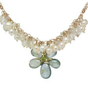 Pearls, Crystal Quartz And Moss Aquamarine On Multi-chain Necklace - Handcrafted