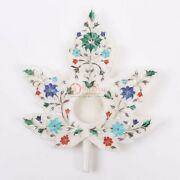Marble White Top Candle Holder Multi Precious Stone Inlay Floral Art Room Decor