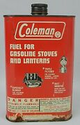 Vtg Coleman Stove And Lantern Fuel Quart Can Graphic Gas Oil Mancave Tin Sign