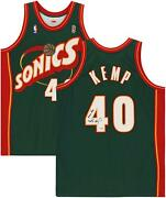 Shawn Kemp Seattle Supersonics Signed Green Authentic Jersey And Reign Man Insc