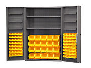 Durham Dc48-842s6d-95 Cabinet With 84 Yellow Bins And 4 Deep Doors 48x24x72