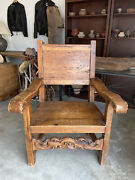 Vintage Spanish Colonial Throne Arm Chair Antique Wood Carved Stretcher Bar