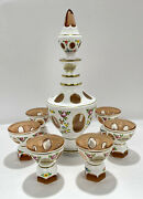 J.f.s. Bohemian White Cut To Amber Decanter And Glasses Set Hand Painted In Czech