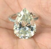 Rare 35.60 Ct Pear Shape Off White Diamond Ring With Diamond Accents Watch Video