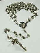 Vintage Sterling Silver And 14k Beaded Catholic Rosary Cross Necklace 105g 60+