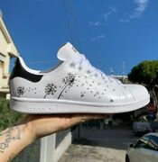 Adidas Stan Smith White With Flower Tooth Of Lion .scarpe Personalized A Mano