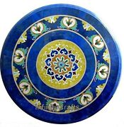 30 Inch Marble Coffee Table Top Inlay Semi Precious Stones Patio Table For Lawn