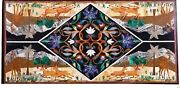 30 X 60 Inches Marble Coffee Table Top Inlay Floral Design Sofa Table For Home