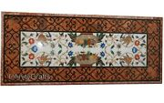 30 X 60 Inches Marble Coffee Table Top Inlay Semi Precious Gemstone Center Table